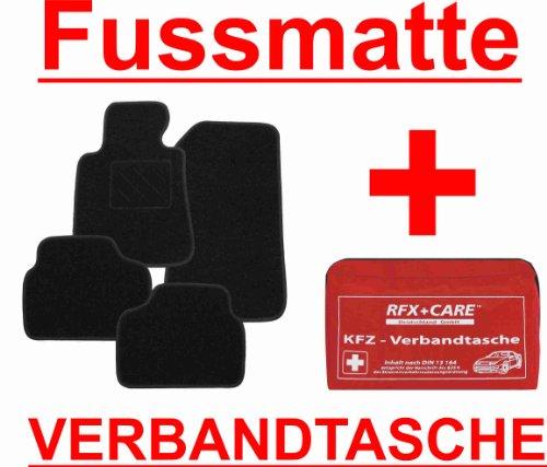 SCHNÄPPCHEN Passform Fussmatte ZERO schwarz + KFZ-Verbandtasche Mercedes E-Klasse W211 / S211 Limousine / T-Modell Kombi Bj. 03/02 - 02/09 mit Mattenhalter vorne (Druckknopf)