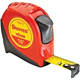"Starrett Exact KTX34-16-N ABS Plastic Case Red Measuring Pocket Tape, English Graduation Style, 16' Length, 0.75"" Width, 0.0625mm Graduation Interval"