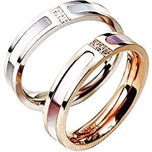 14K Triple Crystal Ring with Seashell Inlay - White Gold Plated Size 3