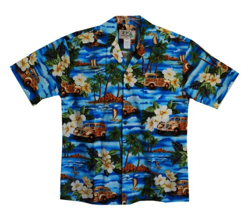 HAWAIIAN MEN'S ISLAND WINDSURFING SHIRT, S, BLUE