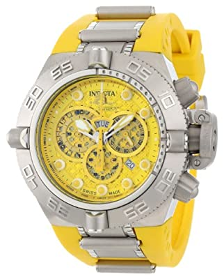 Invicta Men's 1385 Subaqua Noma IV Chronograph Yellow Dial Yellow Polyurethane Watch