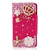 BestCool 1x 3D Bling Glitter Rhinestone metal imperial crown flower Love Series Leather Flip Cover for HTC ONE X S720E AT&T G23 Flip Pocket Flap Pocket Shell Case with Stand Holder Wallet Stand Cover Case Magnetic Clasp Bookstyle Flip case - Rose Red