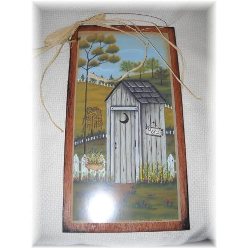 His And Hers Outhouses Wooden Bathroom Sign Set Country