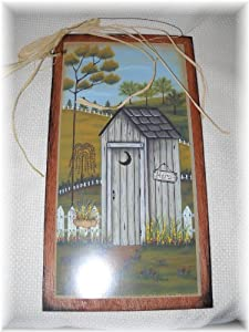 His and hers outhouses wooden bathroom sign set country for His hers bathroom decor