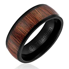 buy 8Mm Comfort Fit Titanium Wedding Band | Black Plated Engagement Ring With Dark Wood Inlay | Domed Top [Size 7]