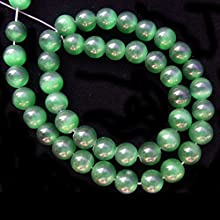 4mm Round Cat Eye Emerald Green Gemstone Beads 153939L