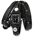 La Mer Collections Women's LMSW1002 Black Patent Face Studded Layer Wrap Watch