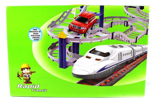 Ultimate Rapid Transit Electric Train And Car 66 Piece Play Set, Perfect Gift Idea