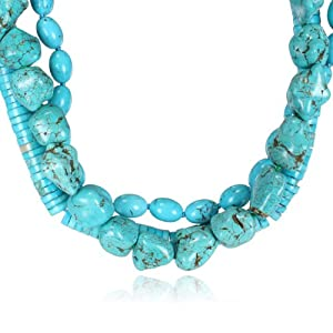 3-Strand Multi-Shaped Turquoise Bead Necklace, 18