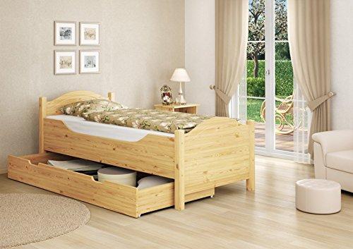 Seniorenbett extra hoch Bettkasten 100x200 Kiefer Holzbett Einzelbett Gästebett 60.40-10 S4