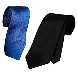 WSD men's narrow royal blue purple and red micro fiber tie pack of three (Black and Navy Blue)