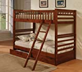 Twin Size Bunk Bed with Storage Drawers in Cherry Oak Finish