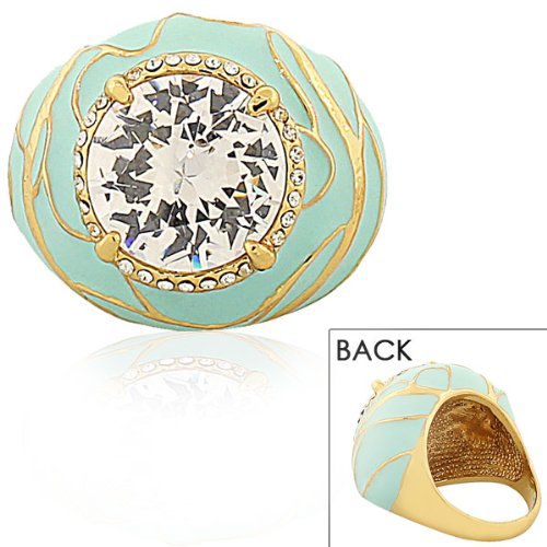 Stainless Steel Yellow Gold Plated White Crystals Cz Turquoise Green Blue Statement Cocktail Womens Ring (7)