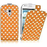 JAMMYLIZARD | Polka Dot Flip Case H�lle f�r Samsung Galaxy S3 Mini, ORANGE