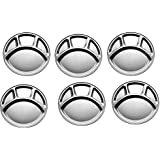 Stainless Steel Four Compartment Round Plate / Thali/ Mess Tray/ Dinner Plate Set Of 6 Pcs- 33.5 Cm Each