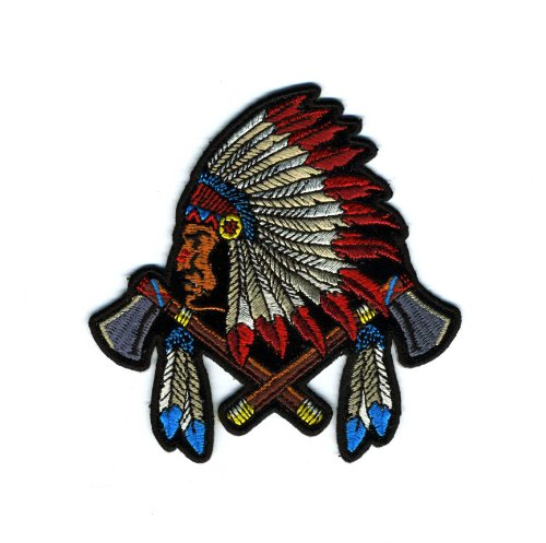Embroidered Iron On Patch - Colorful American Indian Chief 4