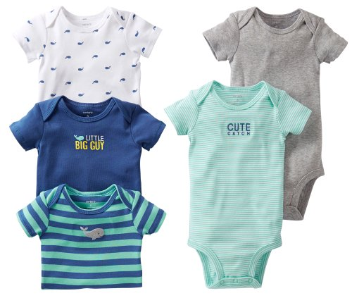 Carter'S Baby Boys 5-Pack Short Sleeve Bodysuit Set (Preemie-24M) (Newborn, Big Catch) front-134538