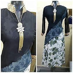 JJR STORE Black Georgette Kurti(Semi-stitched)