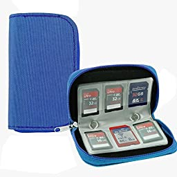 GGS Universal Memory Card Storage Carrying Case (8 Pages, 22 Card Compartments) Blue
