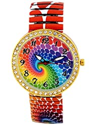 Pappi Boss Unique Designer Casual Stone Studded Rainbow Stretchable Bracelet Band Watch For Girls, Women