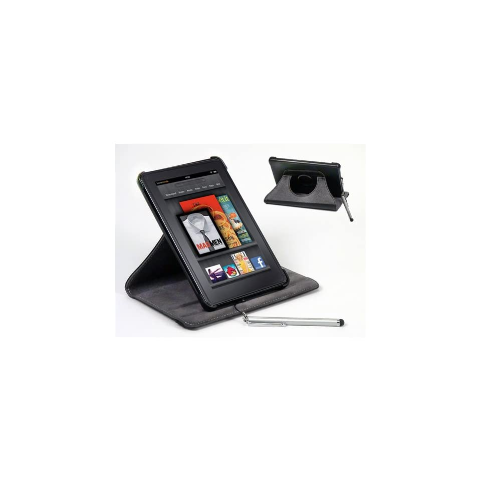 SolarBaks Kindle Fire Leather 360 Case w/ Stainless Steel Stylus , 360° Rotating Cover Case, High Quality Black Leather, 7