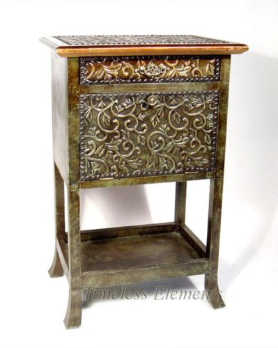 Cheap Brass Plated Wood Nightstand Cabinet Side End table (B0012EMIGC)