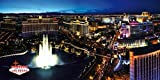 Las Vegas Poster Adhesive Photo Wallpaper - The Strip And The Fountains Of Bellagio By Night (142 x 71 inches)