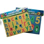 Childrens Combo Alphabet And Numbers Foam Puzzles Set