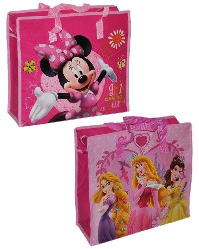 1 Stk. Shopper / Tragetasche / Umhängetasche mit Disney Minnie Mouse - Princess Prinzessin - Kindertasche Tasche Stoff Mädchen Tragetasche Beutel Einkaufstasche - beschichtet und abwischbar - Strandtasche Reisetasche