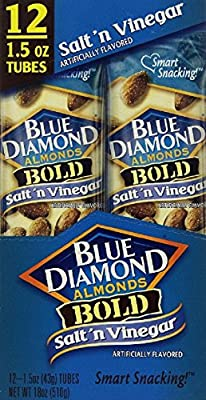 Blue Diamond Bold Almonds, 1.5 oz tubes, Salt 'n Vinegar, 12 tubes from Blue Diamond