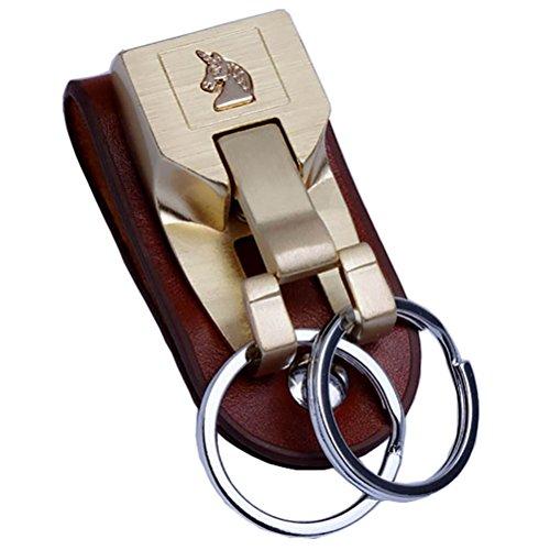 Anello portachiavi per uomo, in acciaio INOX, con cinghia in pelle Liangery Weared portachiavi con doppio anello speciale per uomo/donna, W-Gold