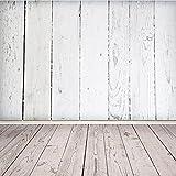Mohoo 5X7ft Silk White Wood Floor Photography Backdrop Studio Prop Background