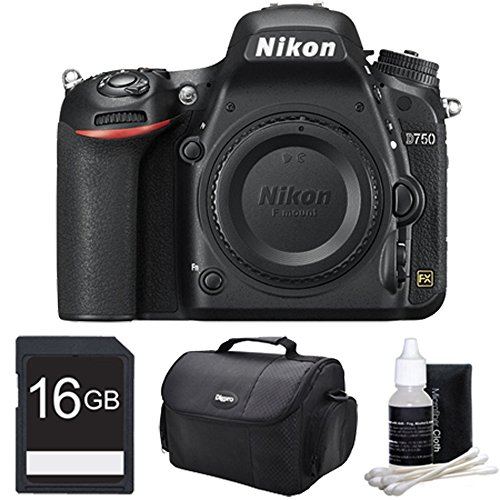 D750 DSLR 24.3MP HD 1080p FX-Format Digital Camera 16 GB Bundle. Bundle Includes 16GB Secure Digital SD Memory Card, Compact Deluxe Gadget Bag, and 3pc. Lens Cleaning Kit.