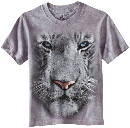 The Mountain Little Boys' Youth White Tiger Face Shirt, Gray, Small front-945960