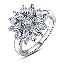 buy Bamoer Snowflake Series 18K White Gold Plated Aaa Clear Cubic Zirconia Comfort Fit Wedding Band Ring