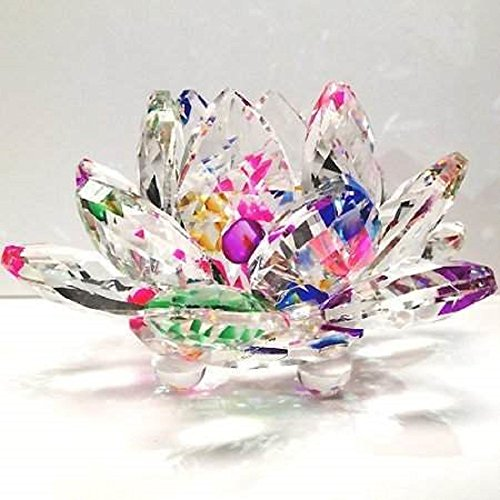 Crystal Sparkle Crystal Lotus Flower Feng Shui Home Decor with Gift Box, 3-Inch (Rainbow Light Precious Gems compare prices)