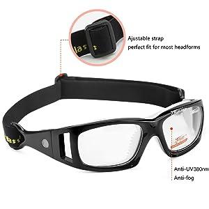 ddc169968d2 Panlees Goggles Sports Glasses Adjustable Elastic Wrap Eyewear For Soccer  Basketball Tennis Lover (Black) (Color  Black)