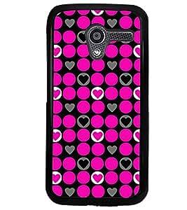 Printvisa Pink Circular And Heart Pattern Back Case Cover for Motorola Moto X XT1058::Motorola Moto X (1st Gen)