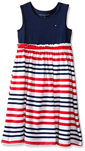 Tommy Hilfiger Big Girls' Printed Jersey Spandex and Stripes Maxi Dress,Navy, 6