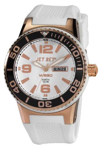 Jet Set J5545R-161 - Reloj analógico de cuarzo unisex con correa de caucho, color blanco