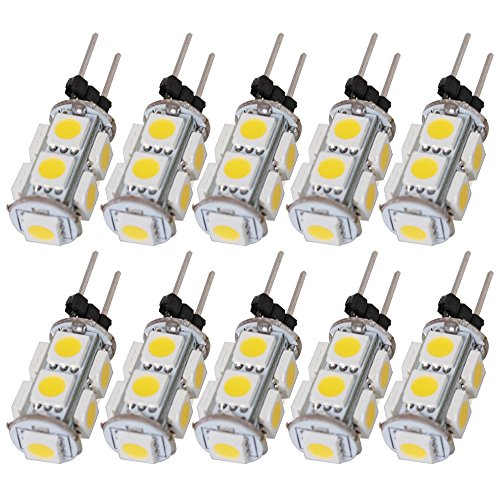 Arlybaba 10 Pack (10 Pcs/Lot) G4 Type 9 Led (8+1) Light Bulb Lamp 1.8 Watt Halogen Bulbs Ac Dc 12V Cool White Undimmable 5050 Emitter Quivalent To 12W Incandescent Bulb Replacement