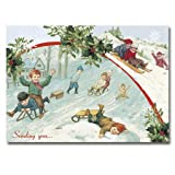 "Christmas Sledding - 5"" x 7"" Pop Up Christmas Greeting Card"