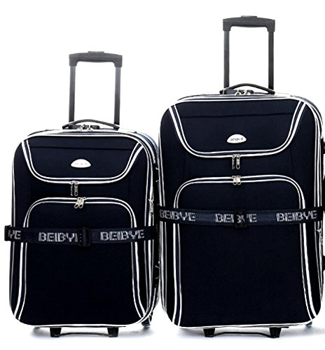 Set di trolley - 2 pezzi - volume XXL 66 + 56 cm, estensibile - nero