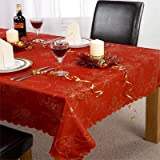 Emma Barclay Angelica Christmas Tablecloth, Red, 70 x 108 Inch