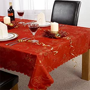 Emma Barclay Angelica Christmas Tablecloth, Red, 63 Inch Round Diametre