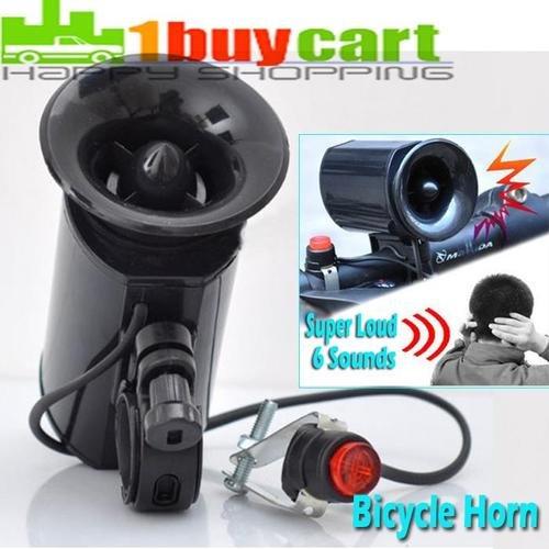 6 Sounds Ultra-Loud Speaker Bicycle Bike Electronic Bell Horn Alarm Black Bic