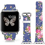 Iwatch Band 42mm Leather,boys Apple Iwatch Sport Genuine Leather Strap Elegant Purple Big Flowers Rose Art Texture
