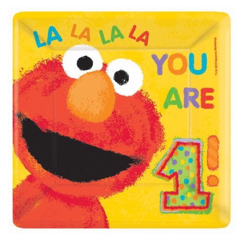 Sesame Street 1st Birthday Large Square Paper Plates (18ct)