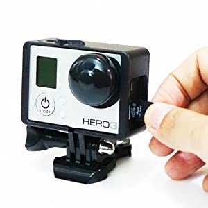 microSD Accessible Wide Open Gopro Frame Mount and Quick Release + Rubber Lens Cover Set