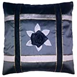 Fashion Home Gray Poly Taffeta With Faux Leather Piping Embellishemnt Cushion Cover Set Of 5